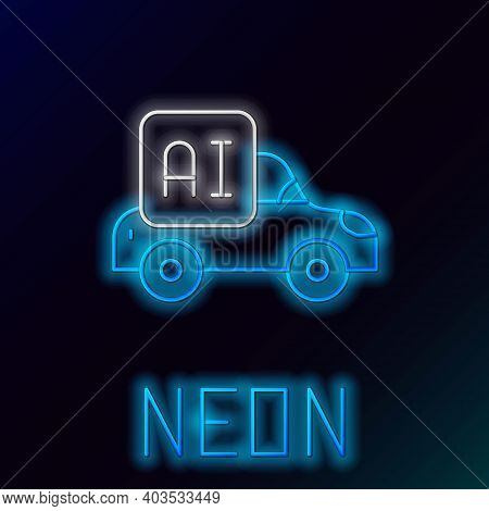 Glowing Neon Line Autonomous Artificial Intelligence Smart Car Icon Isolated On Black Background. Co