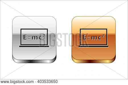 Black Math System Of Equation Solution On Chalkboard Icon Isolated On White Background. E Equals Mc