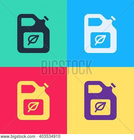 Pop Art Bio Fuel Canister Icon Isolated On Color Background. Eco Bio And Barrel. Green Environment A