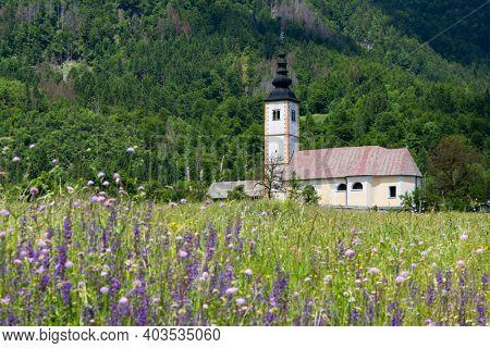 church in Jereka near Bohinj lake in Slovenia