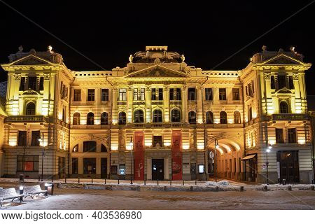Vilnius, Lithuania - January 14 2021: Lithuanian National Philharmonic In Vilnius, Night View With S
