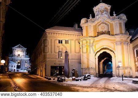 Vilnius, Lithuania - January 14 2021: Holy Trinity Church, Basilian Monastery Gate And Church Of St.