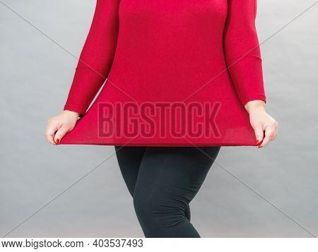 Curvy Big Woman Body In Plus Size Cotton Elastic Top Tunic.