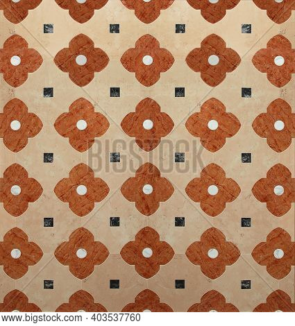 Luxurious Royal Palace Floor Interior. Classical Brown Marble Pattern Background
