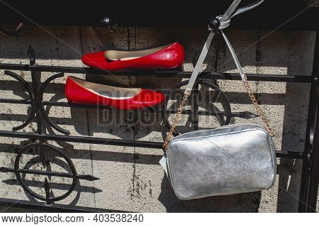 Leather Red Womens Shoes. Fashion, Minimal Fashion Concept, Womens Shoes And Silver Bag. Red Womens