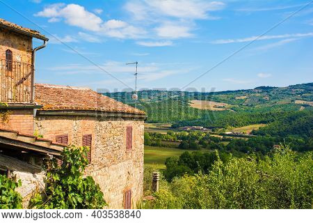 The Landscape Around The Historic Medieval Village Of San Lorenzo A Merse Near Monticiano In Siena P