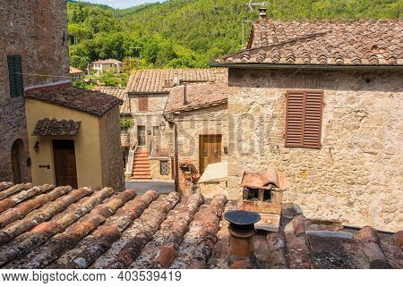The Historic Medieval Village Of San Lorenzo A Merse Near Monticiano In Siena Province, Tuscany, Ita