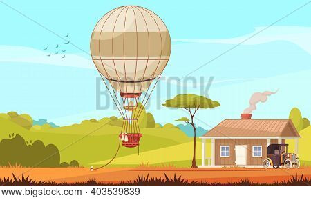 Vintage Transport Composition With Outdoor Scenery House With Car And Aerostat Air Balloon Tied To G