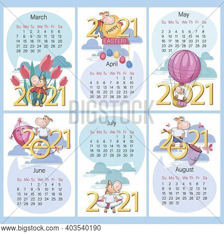 Spring Summer. 2021 Calendar. Set. Funny Calf On Background Of Large Numbers. Year Of The Ox. Holida