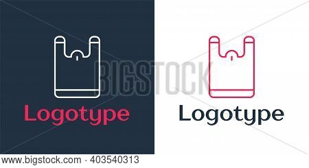 Logotype Line Plastic Bag Icon Isolated On White Background. Disposable Cellophane And Polythene Pac
