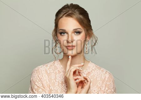 Cute Young Model Woman On White Background