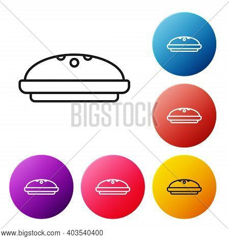 Black Line Homemade Pie Icon Isolated On White Background. Set Icons Colorful Circle Buttons. Vector