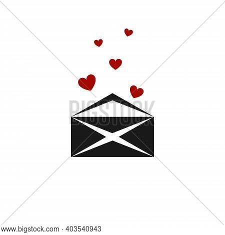 Open Envelope Icon With Red Hearts Flying Out. Love Messages, Declarations Of Love, Sympathy, Valent
