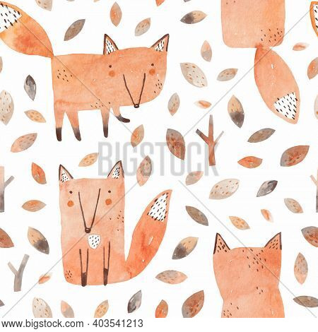 Cute foxes. Childish watercolor illustration with fox in the autumn forest.