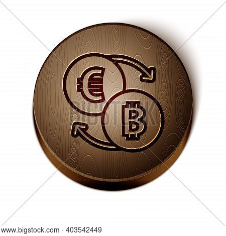 Brown Line Cryptocurrency Exchange Icon Isolated On White Background. Bitcoin To Euro Exchange Icon.