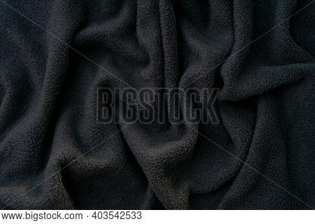 Black Fleece Texture, Soft Fleecy Fabric, Wavy Pattern, Isolated Background