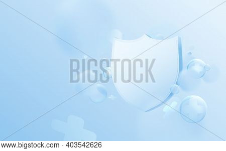 Health Care Concept. 3d Blue Shield And The Abstract Bible And Cross Sign Floating On Soft Backgroun