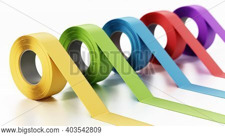 Colored Adhesive Tapes Isolated On White Background. 3d Illustration.