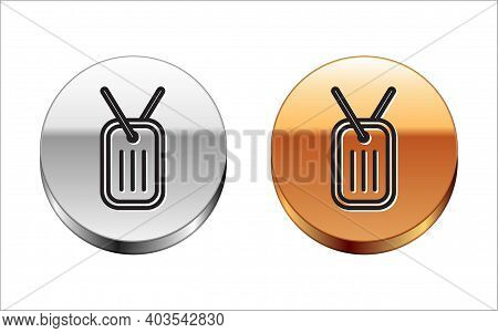 Black Line Military Dog Tag Icon Isolated On White Background. Identity Tag Icon. Army Sign. Silver-
