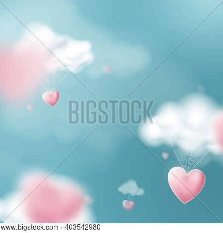 Valentines Day With Heart Balloons Flying And Clouds. Vector Illustration