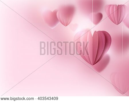 Valentines Day. Pink Hearts And Clouds Are Holding Sting On A Soft Pink Background. Vector Illustrat