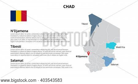 Chad Vector Map Infographic Template Divided By States, Regions Or Provinces. Slide Presentation