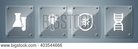 Set Dna Symbol, Shield Protecting From Virus, Test Tube And Flask And Test Tube And Flask. Square Gl