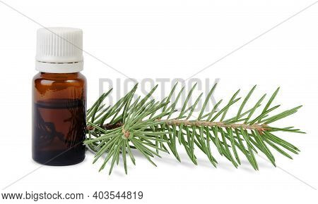 Spruce Essential Oil In Bottle And Fir Branches Isolated On White Background. Aromatherapy And Spa P