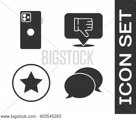Set Speech Bubble Chat, Smartphone, Mobile Phone, Star And Dislike In Speech Bubble Icon. Vector