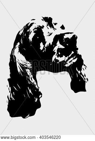 Cocker Spaniel Dog Muzzle Silhouette Vector Illustration