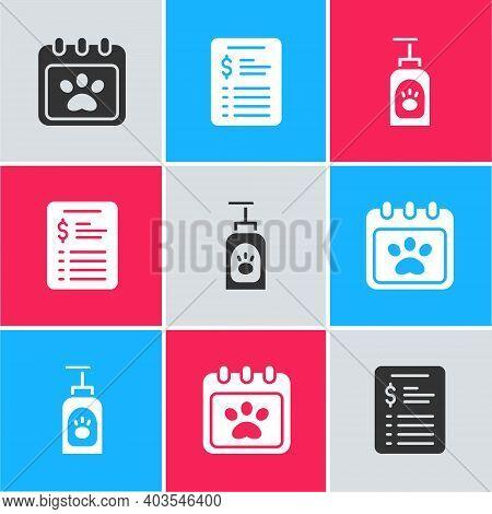 Set Calendar Grooming, Grooming Salon Price List And Pet Shampoo Icon. Vector