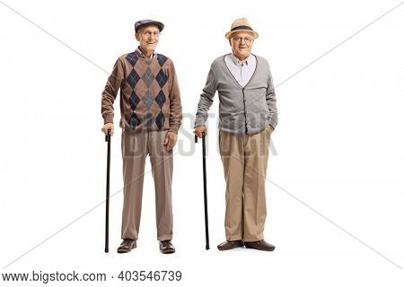 Full length portrait of elderly male friends standing with canes isolated on white background