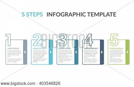 Infographic Elements With Numbers And Place For Your Text, Workflow, Process Chart, Five Steps Or Op