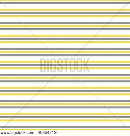 Illuminating Yellow And Ultimate Gray Seamless Horizontal Striped Pattern, Vector Illustration. Seam