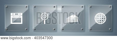 Set Homemade Pie, Cake, Lollipop And Oven. Square Glass Panels. Vector
