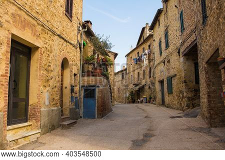 Historic Residential Buildings In The Medieval Village Of San Lorenzo A Merse Near Monticiano In Sie