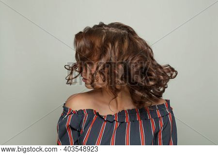 Beautiful Hair Model Woman With Brown Curly Hairstyle On White Background
