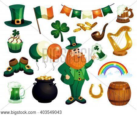 Saint Patricks Day Set Of Isolated Decorations Icons Of Drinks Irish National Symbols And Funny Cost
