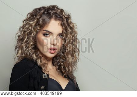 Perfect Young Woman With Curly Hairstyle On White Banner Background