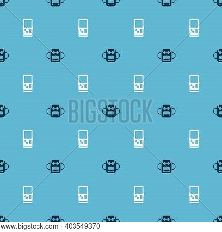 Set School Backpack And Tetris On Seamless Pattern. Vector