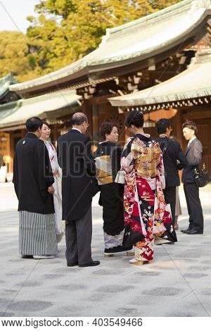 Tokyo, Japan - Nov 11: Japanese Woman In Kimono For A Celebration Of A Typical Wedding Ceremony At M