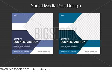 Business Agency Social Media Post Template Design.  Digital Marketing Social Media Web Banner Post D