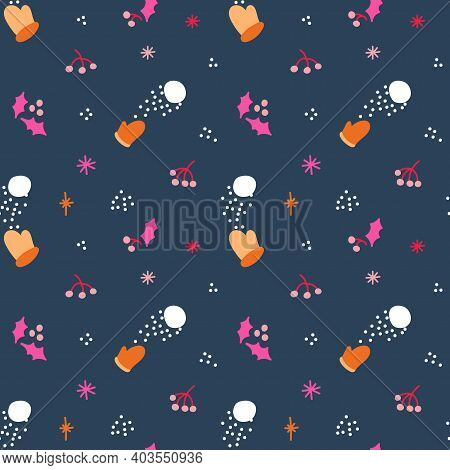 Winter Seamless Pattern With Mittens And Snowballs. Vector Illustration.