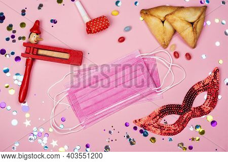 Jewish Carnival Purim Celebration During Coronavirus Days. Purim In 2021 Background. Carnival Attrib