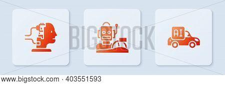 Set Robot Humanoid Driving A Car, For Maintenance And Autonomous Smart. White Square Button. Vector