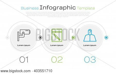 Set Line Security Camera, Evidence Bag And Knife And Anonymous With Question Mark. Business Infograp