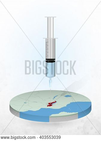 Vaccination Of Malawi, Injection Of A Syringe Into A Map Of Malawi. Vector Illustration Of A Syringe