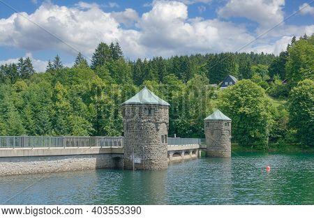 Dam At Fuerwiggetalsperre Reservoir Near Meinerzhagen In Sauerland,germany