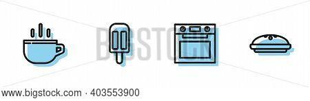 Set Line Oven, Coffee Cup, Ice Cream And Homemade Pie Icon. Vector