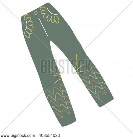 Pants With Ornaments, In A Flat Handdraw Style Isolated On A White Background. Womens Jeans For Acti